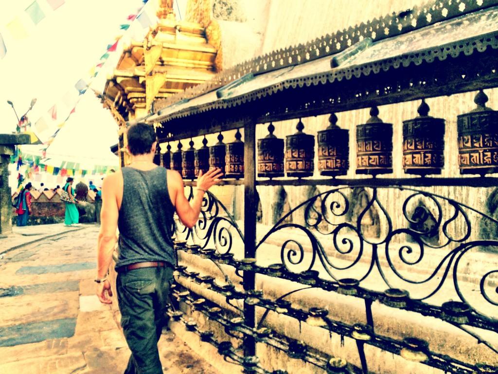 My friend Justin spinning the prayer wheels at Swayambhunath