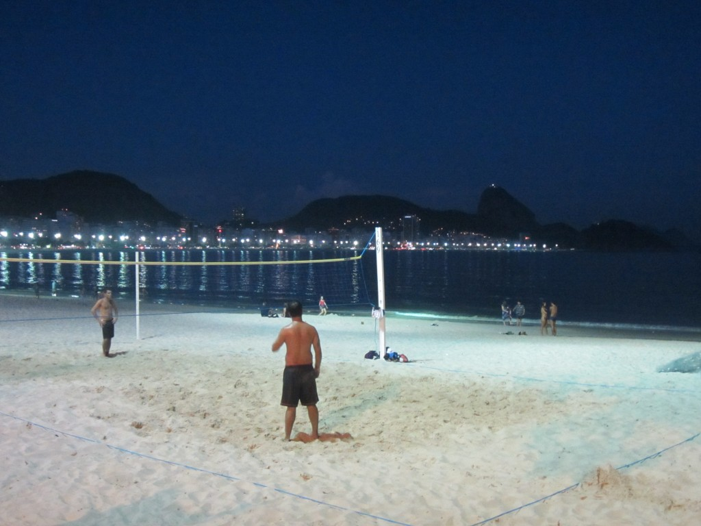 Locals playing volleyball late into the night