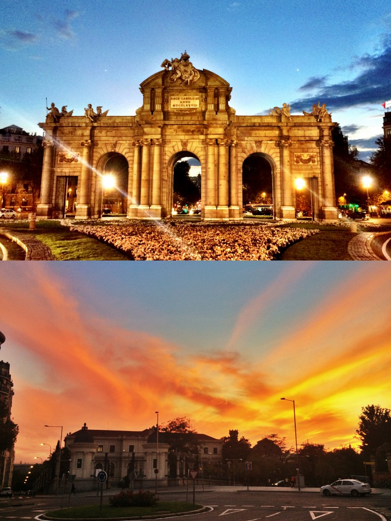 Puerta de Alcalá (top), fiery sunset (bottom)