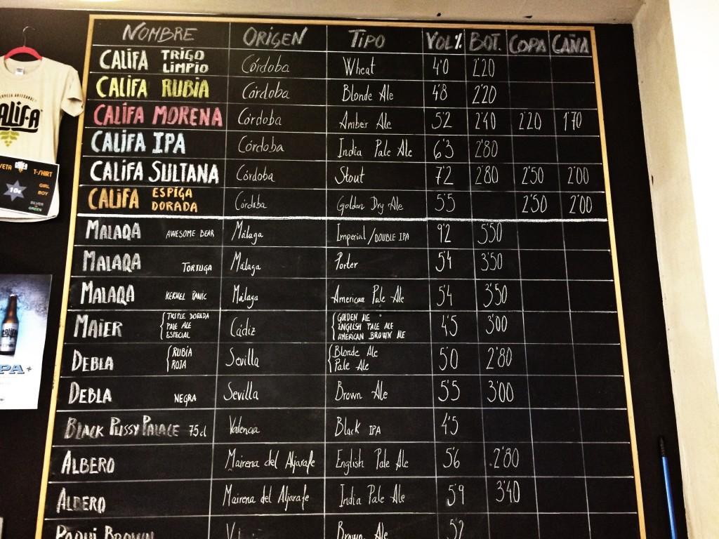 Beer Menu at Cervezas Califa