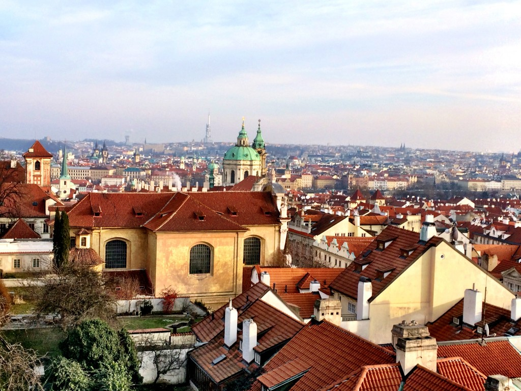 The iconic red roofs of Prague