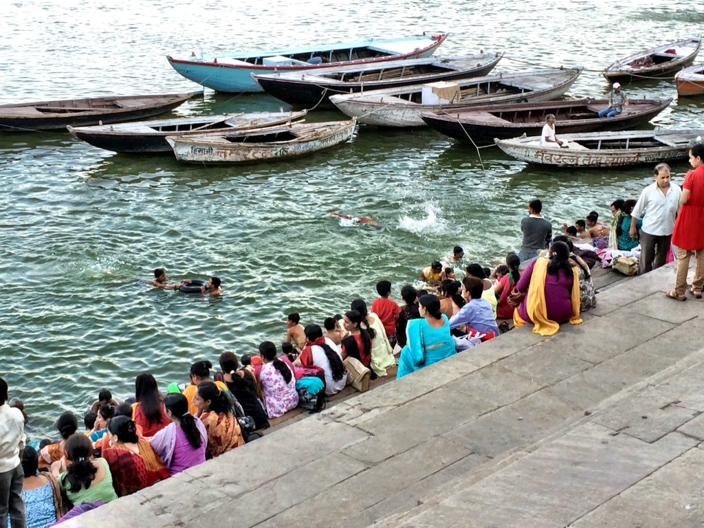 Women Sitting Along the Ganges