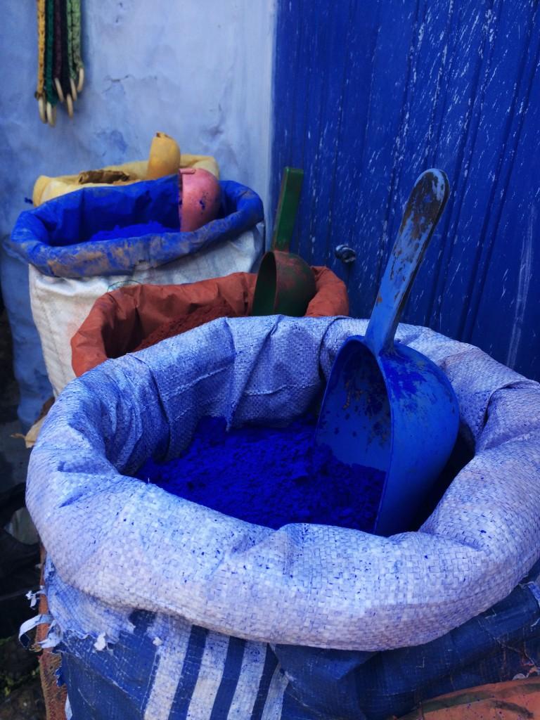 Blue paint for sale, Chefchaouen