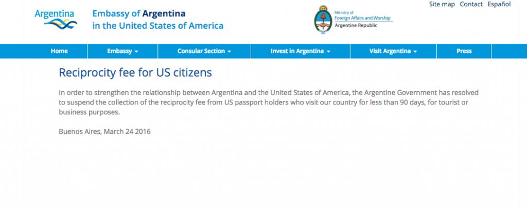 American Argentina Reciprocity Fee